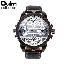2016 Marca de Lujo Reloj de pulsera de Cuarzo Militar Oulm Hombres Reloj Original Correa de Cuero Japón Movt 4 de Zona Horaria Múltiple Reloj