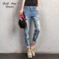 Rasgadas Boyfriend Jeans Mulheres Plus Size Verdadeiro Denim Jean Solto Luz calças de Brim Destressed Destruído Calças de Rock Vintage 40 4XL Bf XS 20