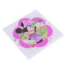 20pcs lot Minnie Mouse Birthday Disposable Napkin Paper Birthday Party Decorations Adult Kids Decoupage Paper Napkins