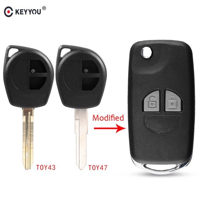 KEYYOU 2 Button Modified Flip Folding Car Remote Key Case Shell For Suzuki SX4 Swift Grand Vitara Key Fob Cover + Button Pad