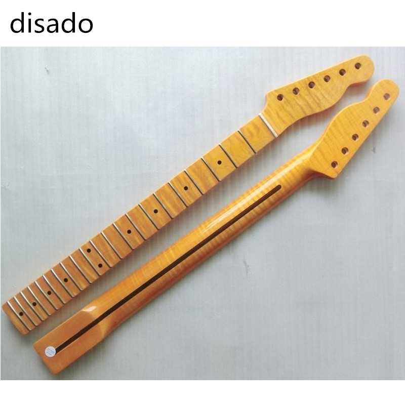 disado 21 Frets one piece Tiger flame material Canadian maple Yellow Color Electric Guitar Neck Wholesale