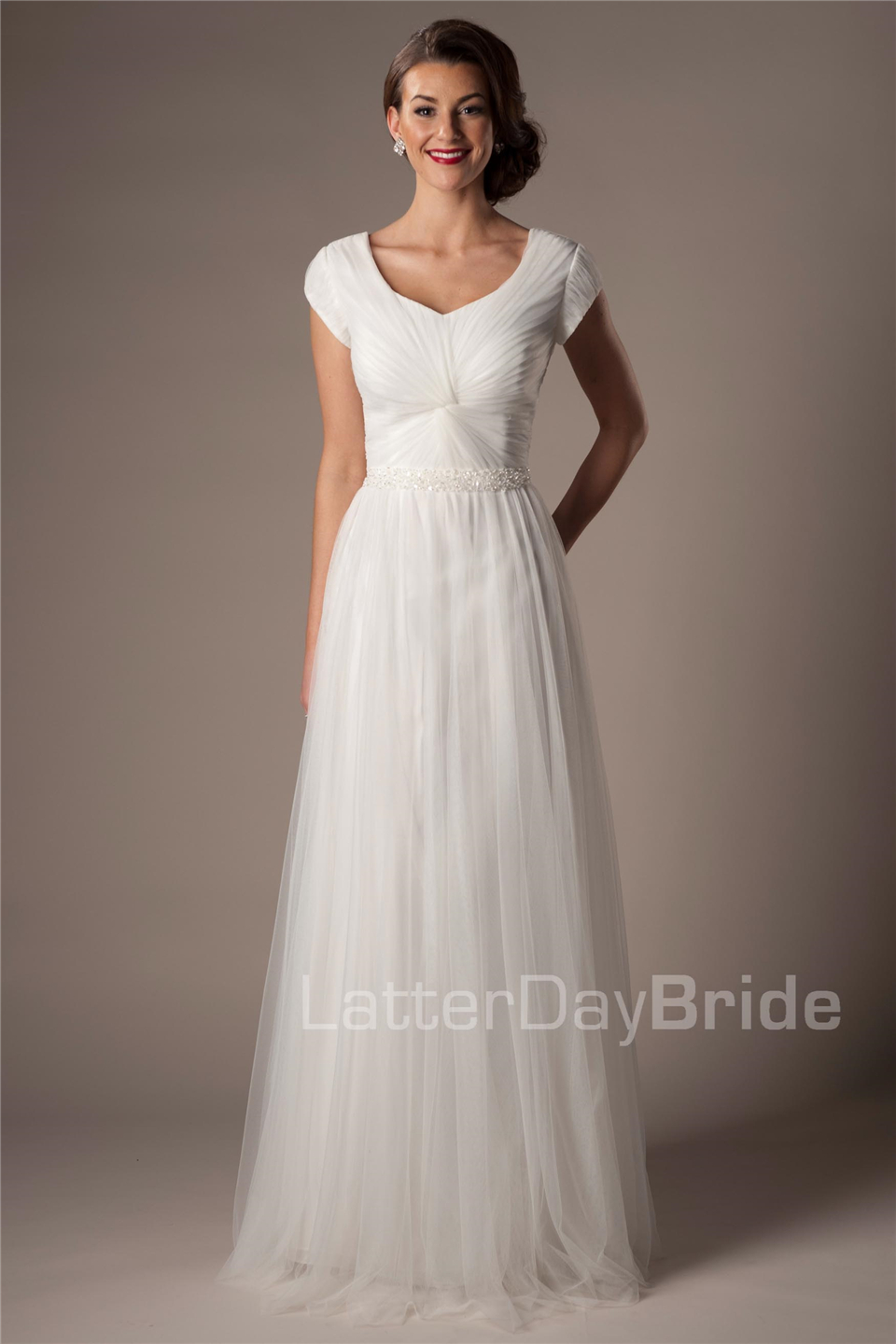 Ivory Tulle Modest Wedding Dresses With Cap Sleeves Beaded Belt ...