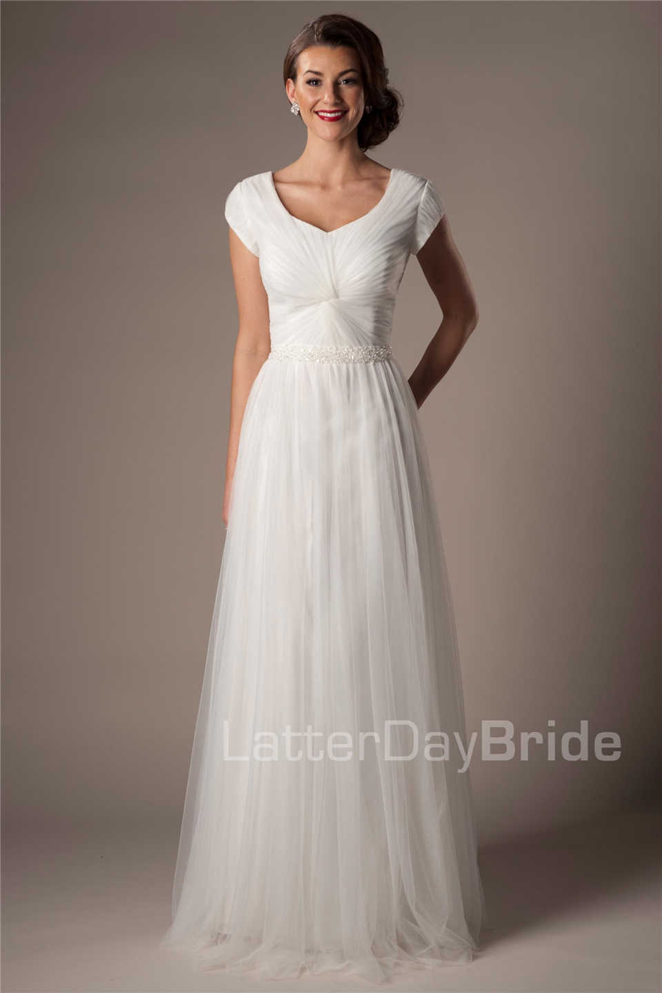 Ivory Tulle Modest Wedding Dresses With Cap Sleeves Beaded Belt Pleats Mature Women Informal Beach Wedding Gowns Country Western Modest Wedding Dress Wedding Dresswestern Wedding Dresses Aliexpress,Casual Simple Beach Wedding Dresses