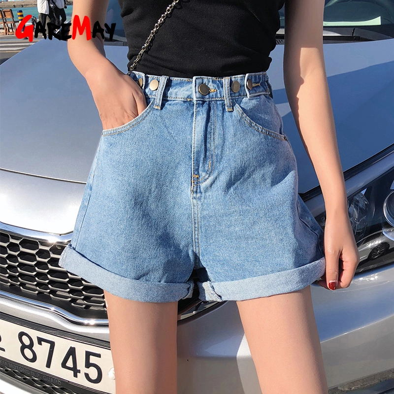 Garemay Denim Shorts Jeans Wide-Leg Classic Blue Vintage High-Waist Female Summer Women's title=