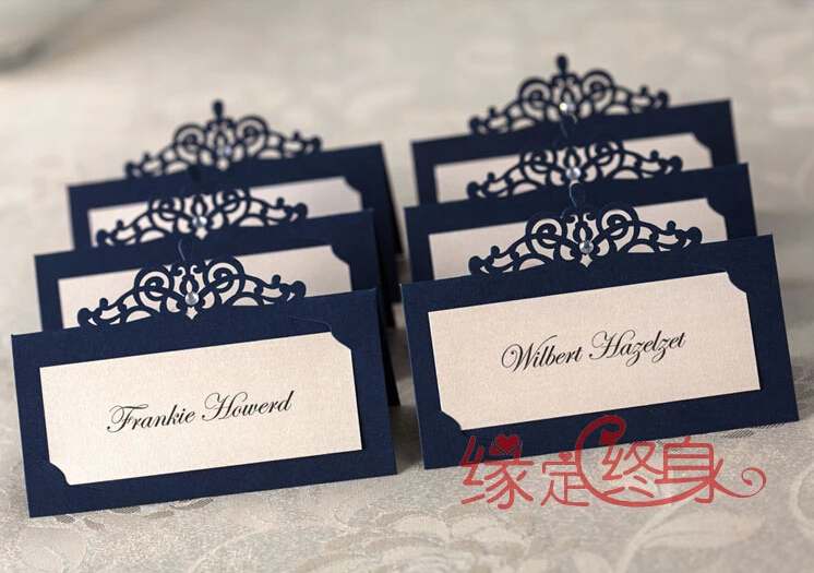 24pcs Lot Elegant Dark Blue Laser Cut Place Card Table Number For Wedding Party Birthday Event Supplies In Diy Decorations From Home
