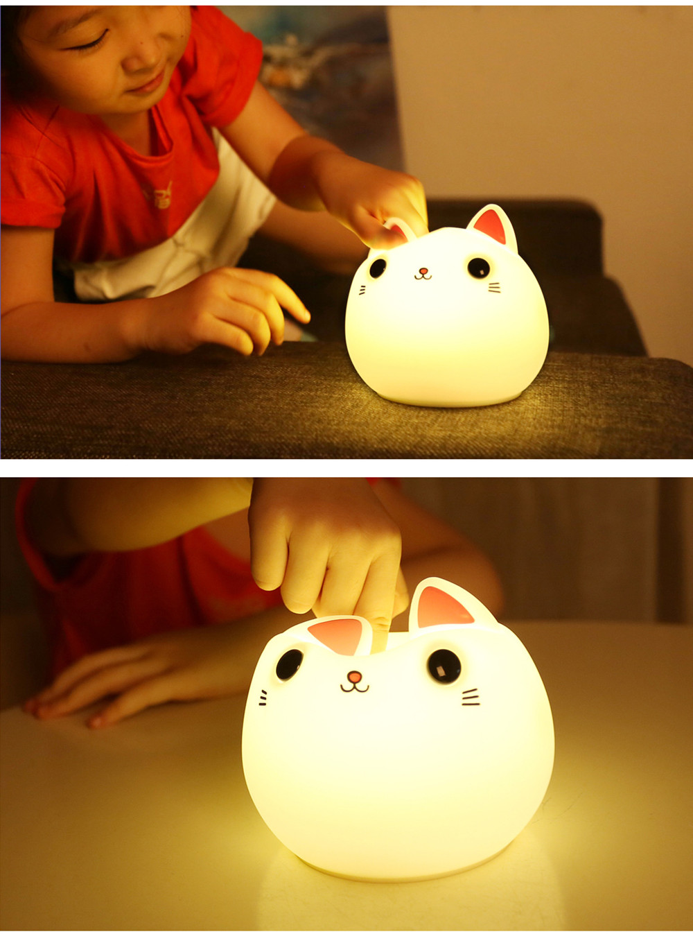 SuperNight Cute Cartoon Cat LED Night Light Silicone Rechargeable Touch Tap Kids Baby Bedroom Bedside Warm Colorful Table Lamp (13)