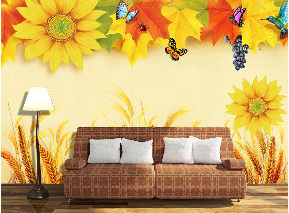 Online buy wholesale sunflower wall murals from china for 3d wallpaper for home amazon