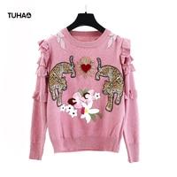 2019 Autumn Spring Flowers Leopard Embroidery Sweater Women Tops Ruffles Long Sleeve Pink Pullover Knitwear Office Lady TS8240