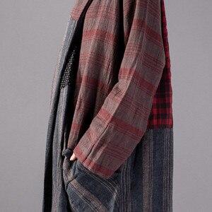 Image 5 - Johnature Vintage Plaid Patchwork Long Loose Dresses Full Sleeve V Neck Pockets New 2020 Spring Cotton Linen Women Dresses