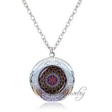 Antique silver plated locket necklace pendant Mandala om necklace vintage Sri yantra jewelry Hinduism necklace for women men