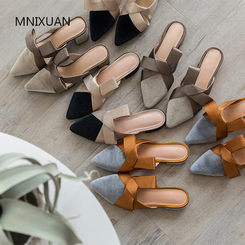 MNIXUAN Fashion summer elegant women sandals shoes 2019 new arrival gold velvet pointed toe block heels