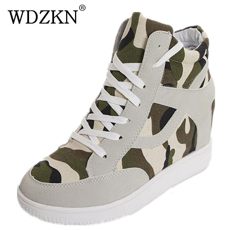 New autumn winter women casual shoes high top camouflage height increasing canvas shoes for women zapatos mujer ankle boots new arrival women high top lace up denim casual shoes handmade sewing big rhinestone canvas ankle boots height increasing shoes