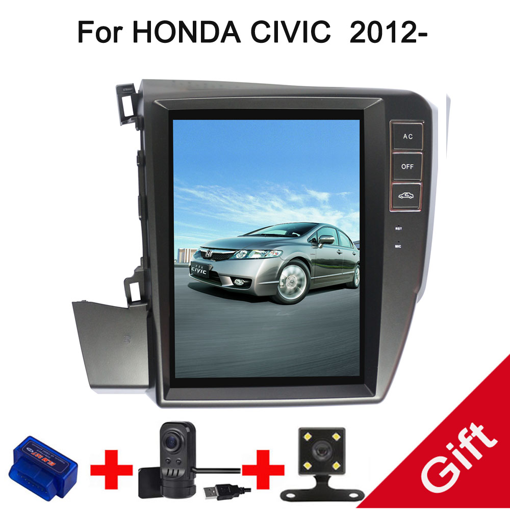 10.4 Tesla Android 7.1/6.0 Fit HONDA CIVIC left driving 2012 2013 2014 2015 Car DVD Player Navigation GPS Radio