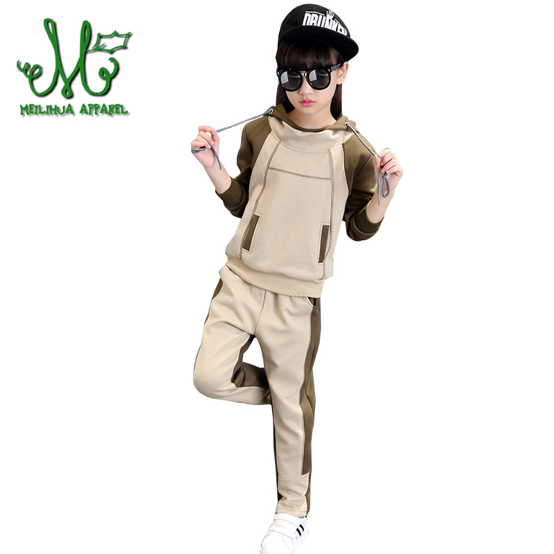 Girl Hooded Tracksuit Clothes set Kids Spring&Autumn Cotton School Uniform Sport Suit Girls Clothing Sets 4 6 8 10 12 14 year