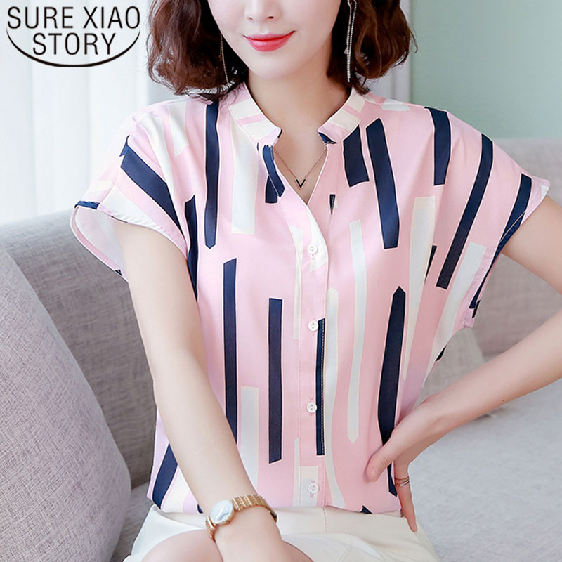 Fashion women   blouse   and tops 2019 ladies tops   shirts   plus size tops Button chiffon   blouse     shirts   Striped V-Neck 3742 50