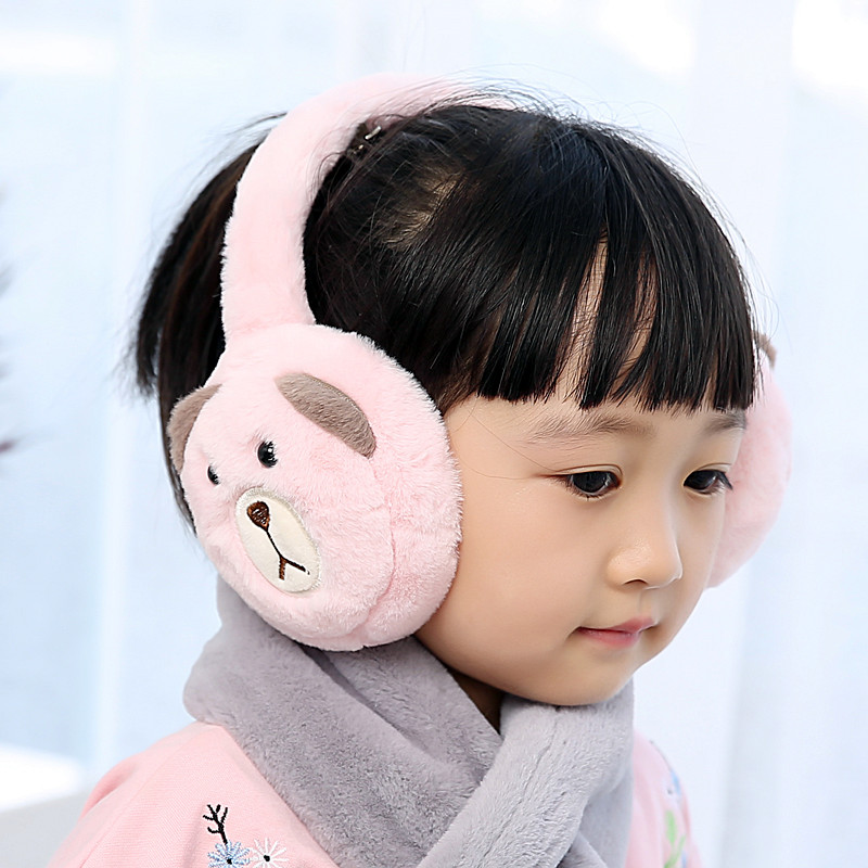 Foldable New Winter Warm Lovely Cartoon Bear Plush Children Earmuffs Ear Thick Boys Girls Ear Muffs AD0707