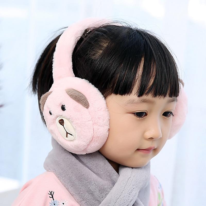 Foldable New Winter Warm Lovely Cartoon Bear Plush Children Earmuffs Ear Thick Boys Girls Ear Muffs AD0707