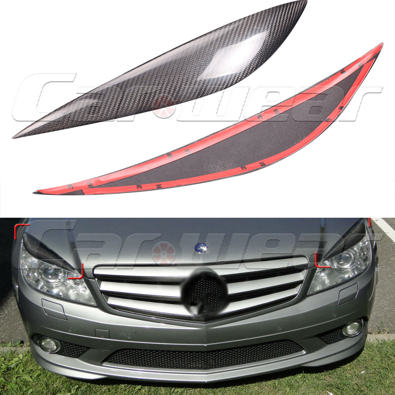 2007-2010 Carbon Fiber Front Headlight Cover Eyelid Eyebrow for Mercedes benz C class C180 C200 C260 C300 W204 C63 car styling led drl for mercedes benz w204 c class c180 c200 c250 c260 c300 2008 2010 led bumper daytime running lights daylight