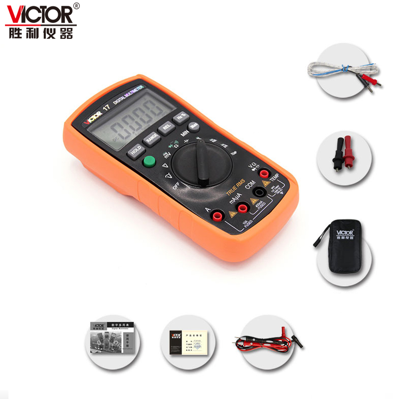 VICTOR 17 Digital Multimeter 3 3/4 Digits TURE RMS AC/DC Mini Portable Handheld Multimeter Auto range capacitance 1000uF VC17 uni t ut205 ture rms auto manual range digital handheld clamp meter multimeter ac dc voltage aca test tool