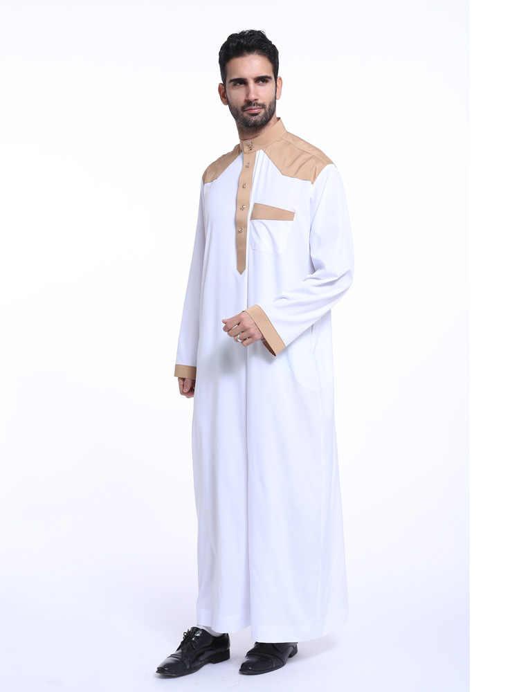 アラブ Musulman Jubba トーブアラビア長袖ムスリムアバヤ男性アラブサウジアラビアパキスタンプラスサイズイスラム服ヒジャーブローブ