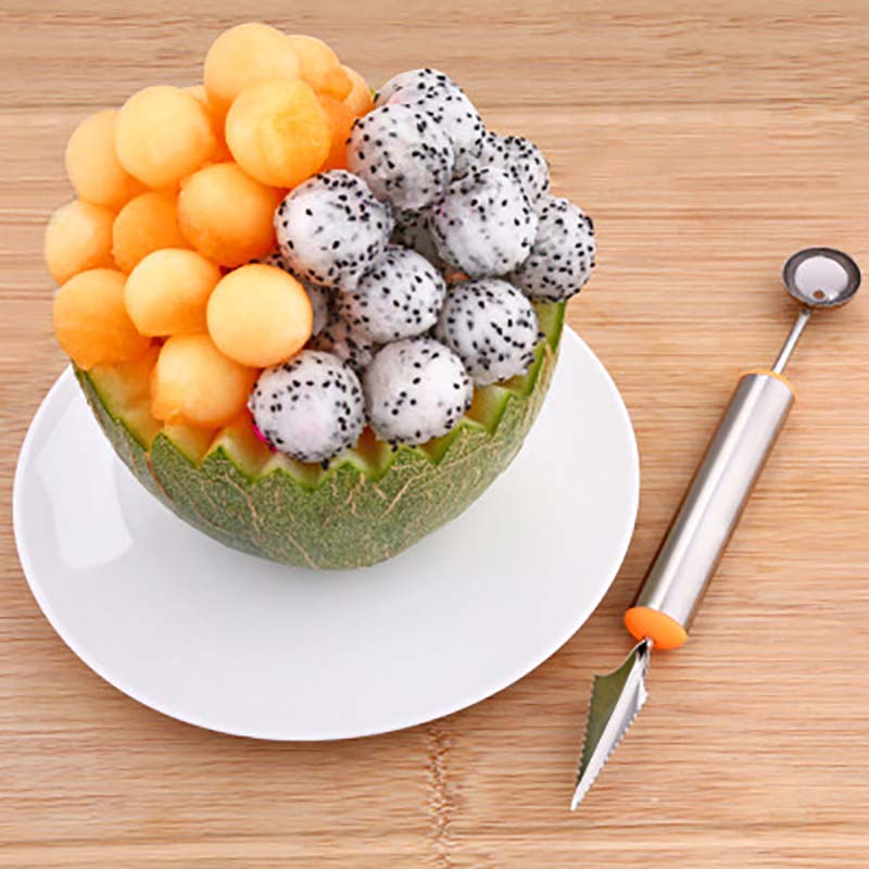 Stainless Steel Silicone Hand Fruit Cutting Tool Utensils Carve Patterns Watermelon Dig Balls Cut Fruit Pulp Separator