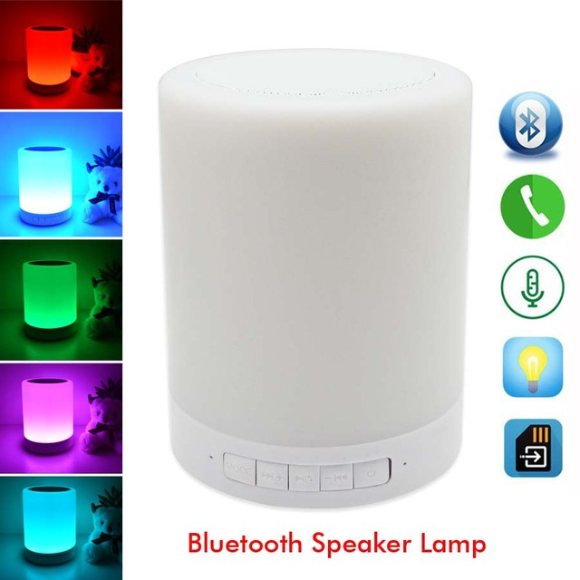 Smart Night Lights Indoor Bed Bedside Led Lamp RGB Lights Touch Control Bluetooth For TF Card Music Player by Android/IOS