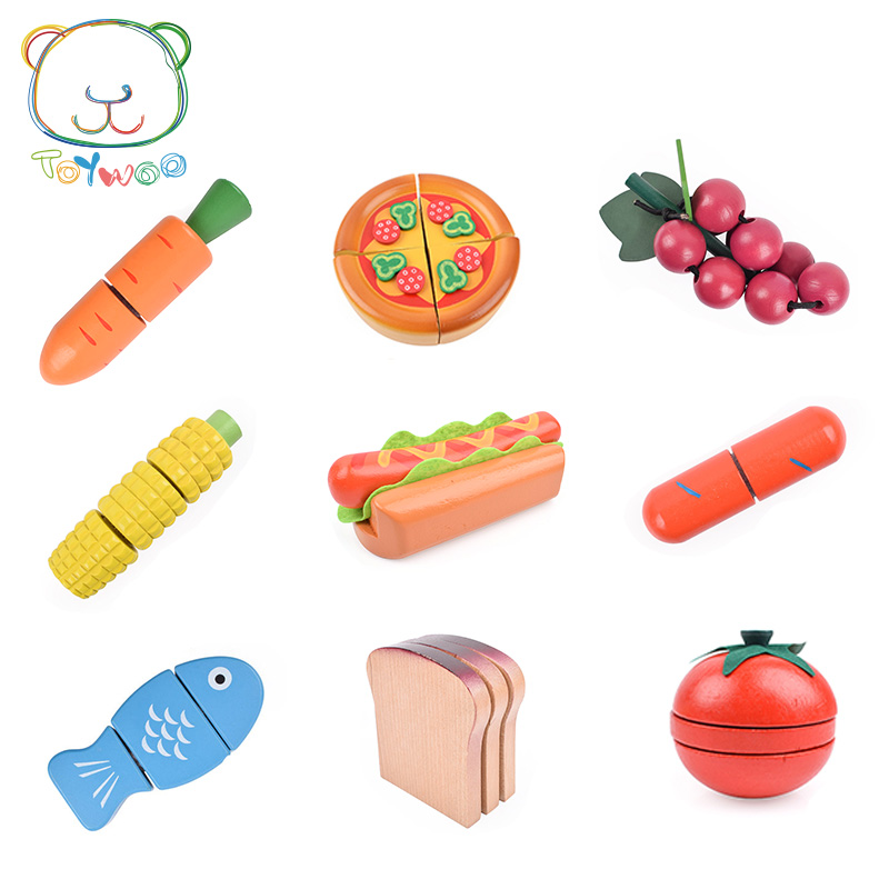 [Toy Woo] New Wooden Kitchen Food Fruit Vegetable Cutting Kids Pretend Play Educational Toy Safety Children Kitchen Toys