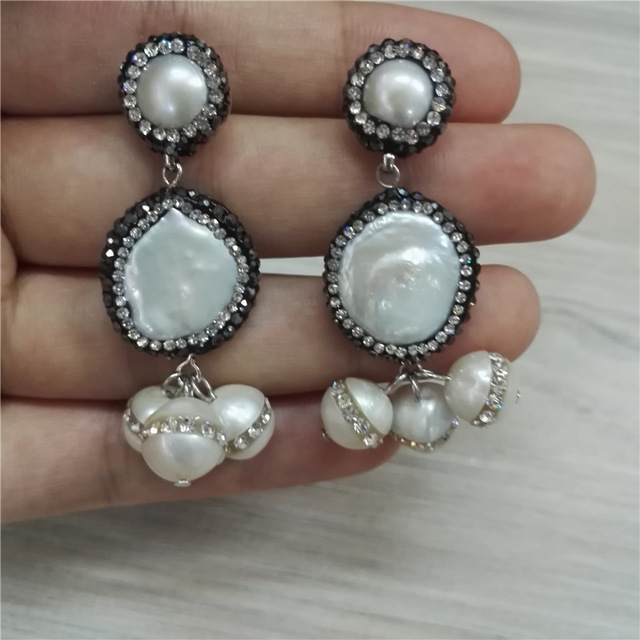 Boho Chandelier Natural Freshwater Closed Round Pearl Bead Charms Pave  White Rhinestone Top Dangle Earring For 57110f385721