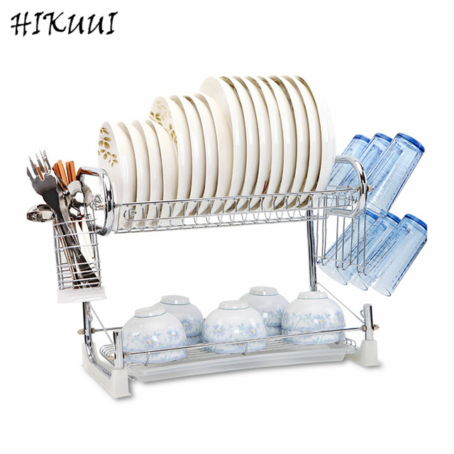 Kitchen Dish Rack Multifunctional 2 Tier Storage Accessories Dishes Plates Cutlery Draining Metal