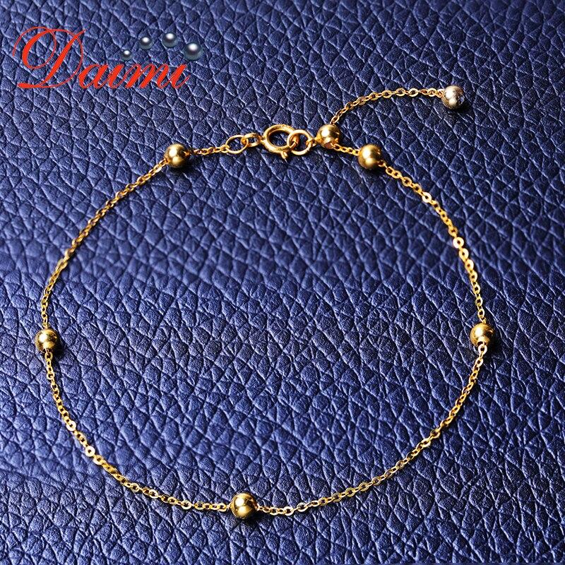 DAIMI pulsera de oro puro cadena satelital 18 K Cadena de cuentas de oro amarillo ajustable 18 cm pulsera de cadena de regalo de joyería - 3