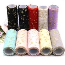 15cm*10yards Star Glitter Tulle Roll Sequin Organza Tutu Skirt Fabric Laser DIY Craft Supplies Handmade Wedding Decoration