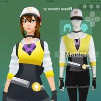 Anime Pokemon Go Costume Pokemon Pocket Monster Trainer Cosplay Costume Yellow With Hat Adult Women Halloween Cosplay Blazer