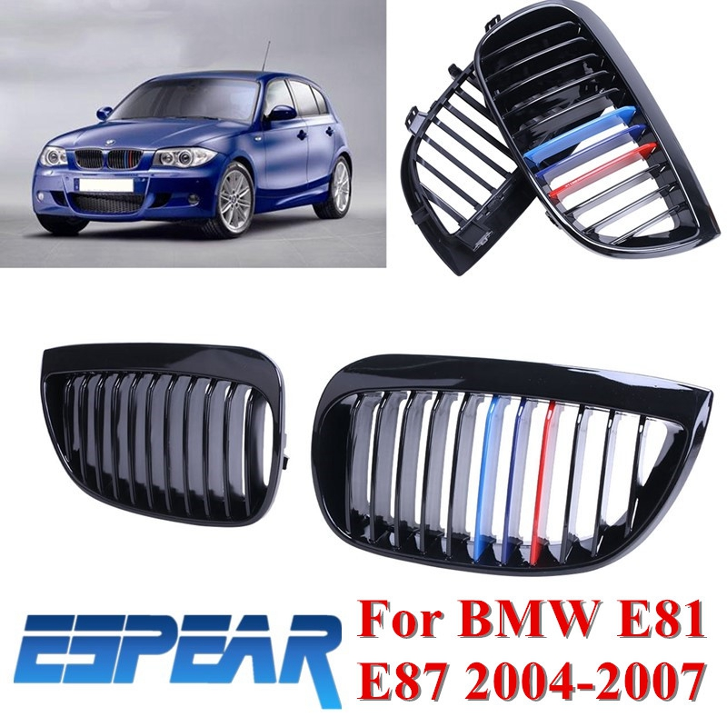 ФОТО 2x Car Front Grille Grilles Lattice For BMW E81 E87 116i 118i 120i 1-Series 2004 2005 2006 2007 Gloss Black Mix Colored #9287