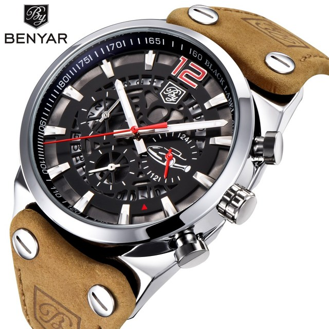 9f704be7dfb2 BENYAR deporte cronógrafo relojes para hombre marca de moda impermeable  militar correa de cuero reloj de