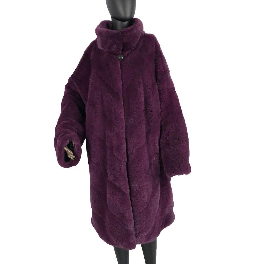 2019 new long batwing sleeved real fur coat standing collar Real Fur Mink Coat For Women Bat Type Loose Mink Fur Coats Long natu