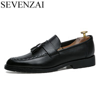 Mens Slip On Tassel Formal Leather Dress Shoes Luxury Brand Pointed Toe Ballet Flats Male Italian