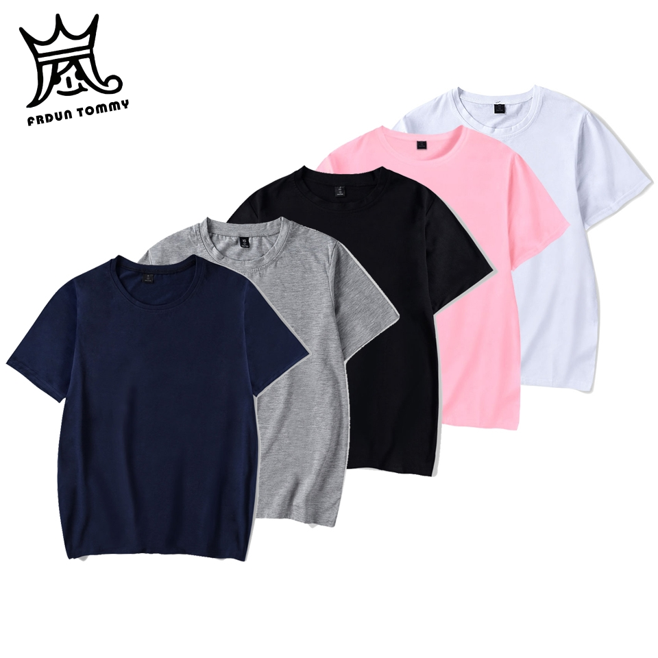 FRDUN TOMMY 2019 Solid Color T Shirt Mens Black And White Cotton T-shirts Summer Skateboard Tee Boy Skate Tshirt Tops PLUS Size