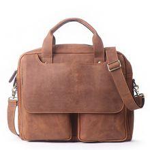 2019 Men Leather Brown Briefcase Business Handbag Messenger Bags Male Vintage Shoulder Bag Men's Large Laptop Travel Bags Hot недорого
