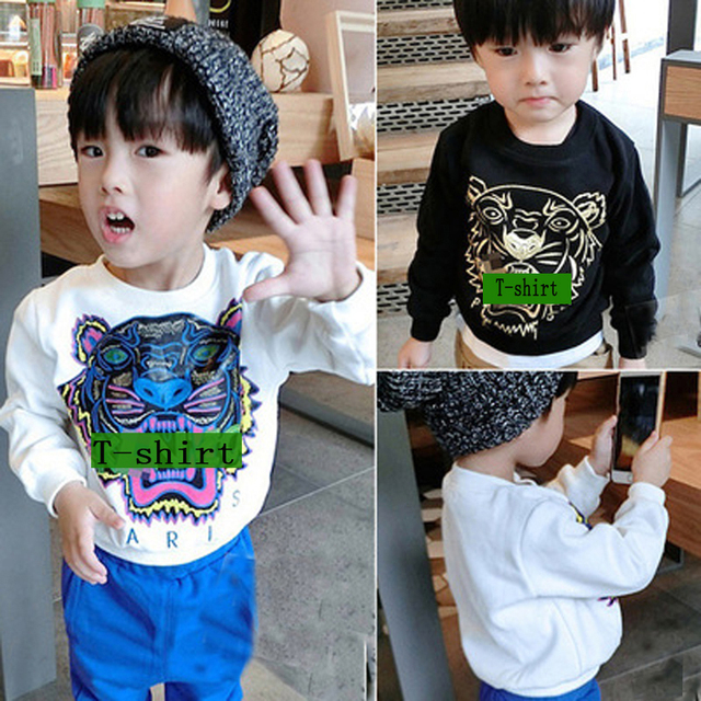 Boys T-shirt Long Sleeve Boys Causal  Cotton boy kids t-shirt of neutral tiger pullover casual baby boys clothing hot sale