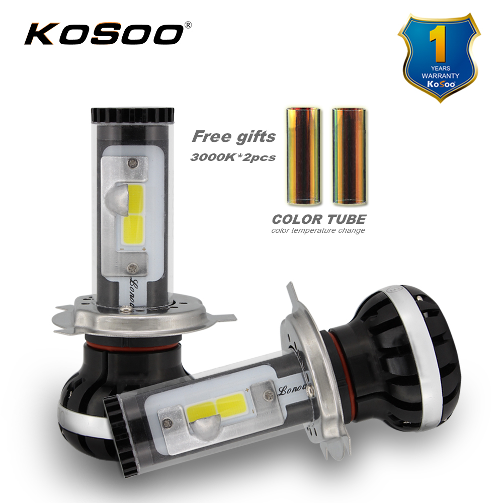 KOSOO H4 High-Low Beam LED Car Headlight Bulb lonowo Chips 72W 8000LM per Pair 6000K and 3000K Auto Headlamp Light H4 Car Bulbs newest h4 led car headlight h1 h8 hig led light 9005 9006car led headlight bulb auto headlamp lamp high low beam white lighting