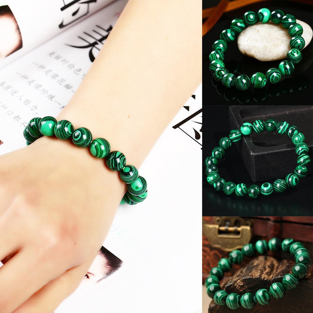 Green Women Stretch Bracelets Elastic Jewelry Beads Strand Men
