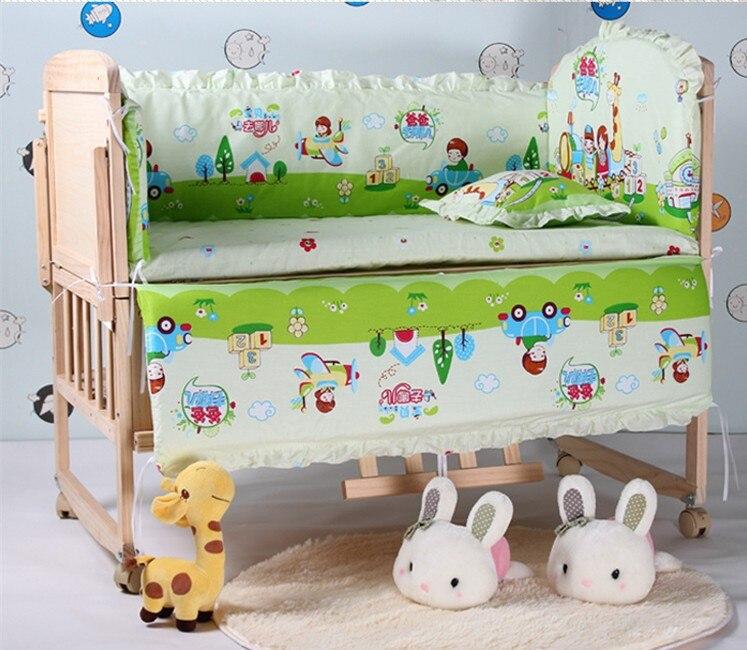 Promotion! 6PCS Baby Crib Set New Arrival Bedding Sets Cotton (3bumpers+matress+pillow+duvet)
