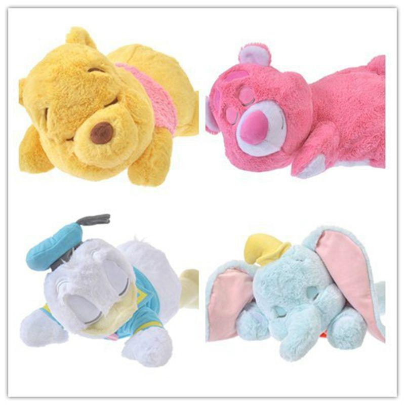 Disney 40-50cm Cartoon Big Dumbo Stitch Donald Duck Winnie Sleeping Plush Toy Doll Stuffed Animals Pillow Girls Gift