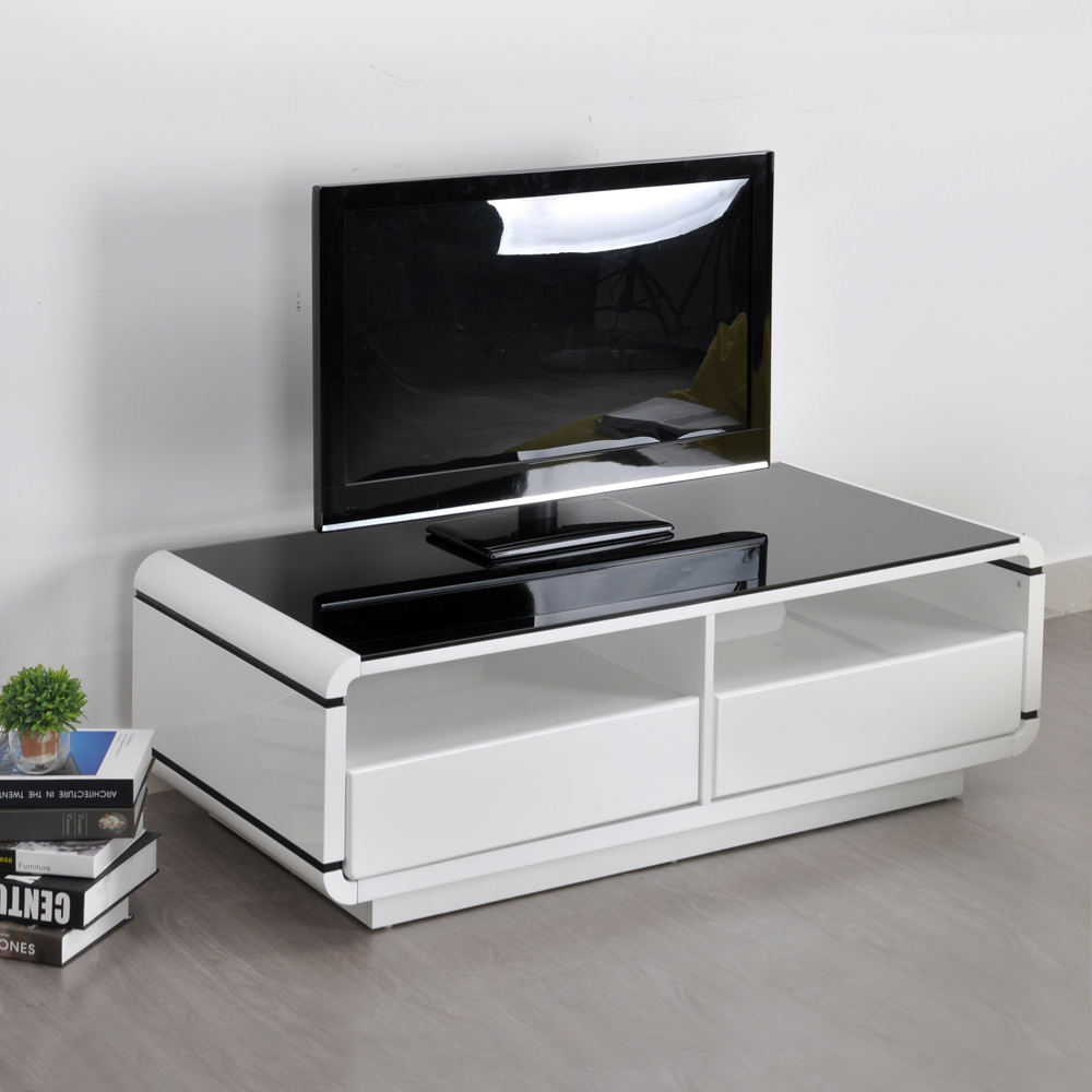 Aingoo Moderne Meuble Tv Blanc Et Noir Table Basse Salon Meubles  # Meuble Tv Et Table Basse