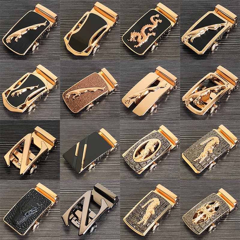 แฟชั่น Glod อัตโนมัติ PU เข็มขัดหัวเข็มขัดสำหรับชาย LeatherWaist เข็มขัดกางเกงหัวเข็มขัด 3.5 ซม.RATCHET อุปกรณ์...
