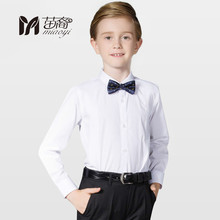 Boys Shirt Long Sleeve Tuxedo Men Dress Shirt Children White Shirt Large Kids Cotton Lapel 2018 New England style of children