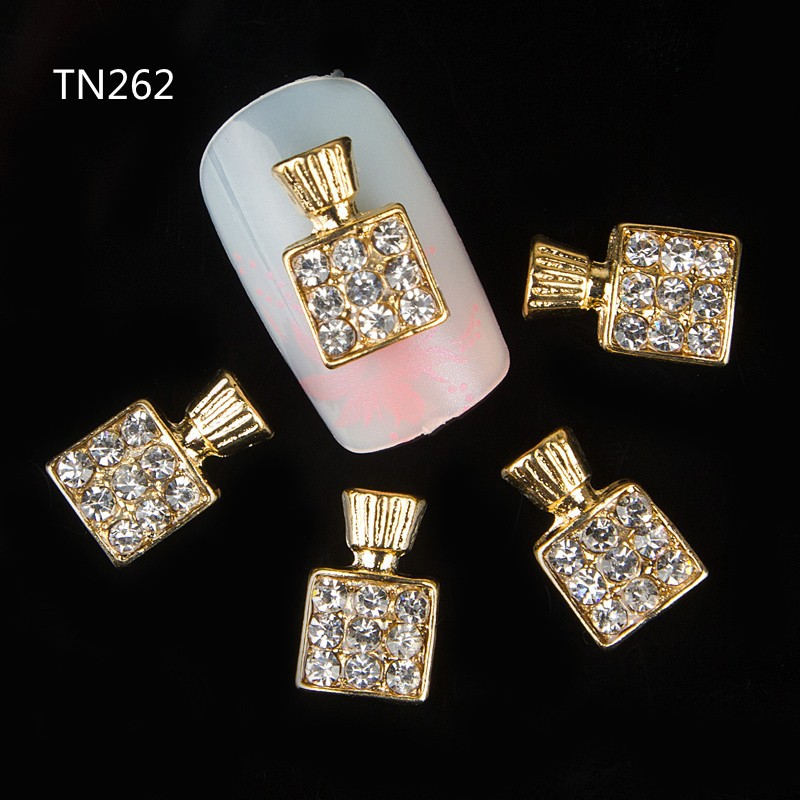 10pc Golden Perfume Bottle Rhinestones flower 3d Nail Art Decorations,Alloy Nail Sticker Charms Jewelry for Nail Polish TN262 10psc new pearl colored flow glitter rhinestones 3d nail art decorations alloy nail charms nails rhinestones nail supplies 687