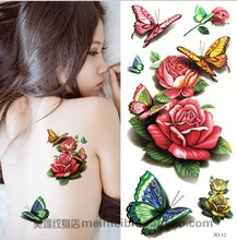1piece Colorful 3d-12 Rose Butterfly Pattern Temporary Tattoo Waterproof Transfer Body Painting Tatoo Sticker 3D Women Sexy