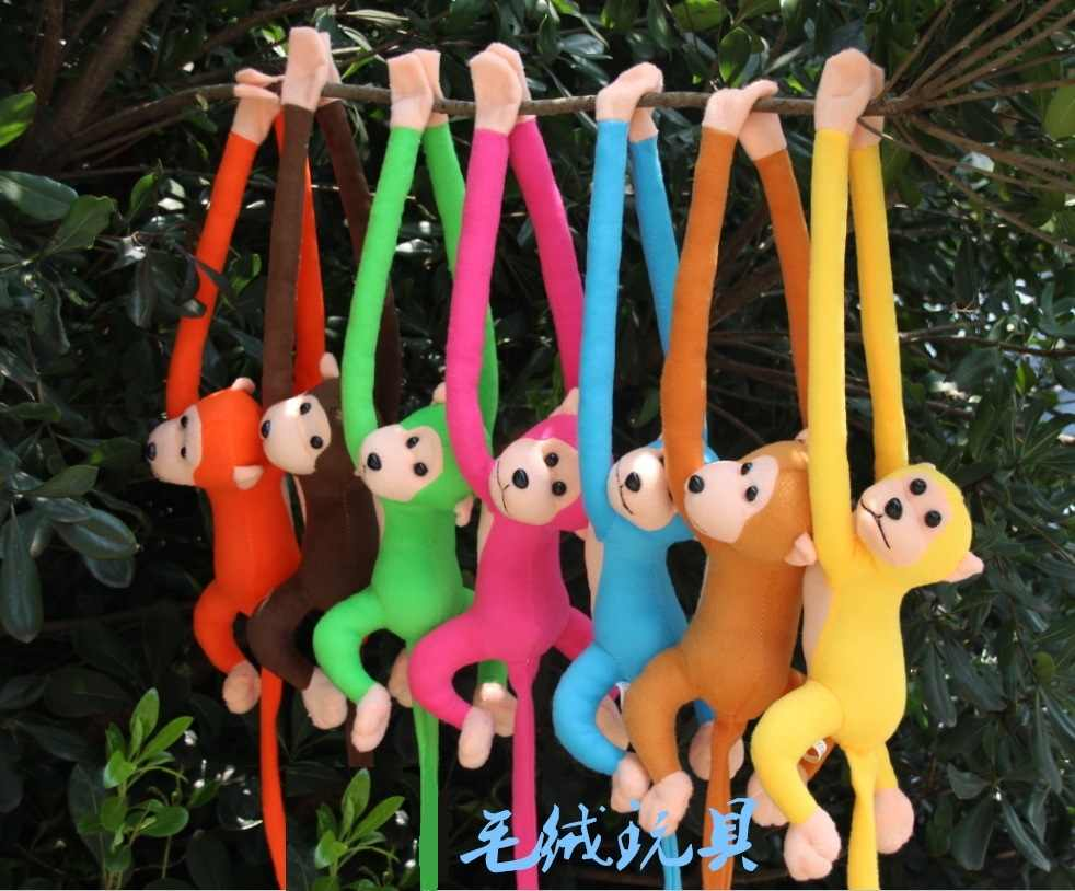 70cm  long arm monkey from arm to tail plush toy colorful monkey curtains monkey stuffed animal doll for kids gifts  style209kk
