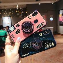 Blue Ray 3D Retro Camera Phone Case For Samsung Galaxy S7 Edge S8 S9 S10 Plus Funda for Note 8 9 S10E Capa Lanyard and Kickstand